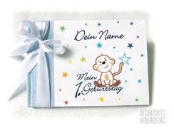 Foto Gästebuch Kindergeburtstag Grafik Affe Sterne A5 Querformat 20 Blatt weiß Gästebuch 1. Geburtstag mit Namen in hellblau weiß regenbogenfarben