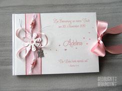 Taufbuch Engel weiß rosa silber personalisierbares Taufbuch Taufgeschenk Mädchen Taufgästebuch individualisierbar Gästebuch Taufe