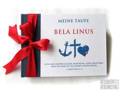 Foto Gästebuch Taufe dunkelblau weiß rot Taufsymbole Glaube Liebe Hoffnung Taufgästebuch Junge personalisiert Name Anker Kreuz Herz Taufspruch