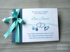Fotoalbum Taufe Hände Füße Herzen Taufalbum Junge Mädchen blau weiß mint Erinnerungsalbum personalisiert Fotoalbum individuell bedruckt