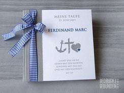 Foto Gästebuch Taufe Kommunion grau weiß blau Symbole Glaube Liebe Hoffnung Taufgästebuch personalisiert Name Anker Kreuz Herz Taufspruch