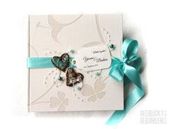 Foto Gästebuch Hochzeit creme türkis Gästebuch Hochzeit Rebenherz Hochzeitsbuch Hochzeitsgeschenk Wedding Guestbook Memories
