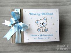 Fotoalbum Mein 1. Geburtstag Teddybär Punkte beige weiß hellblau Geburtstagsgeschenk personalisiert Kindergeburtstag Fotoalbum mit Namen