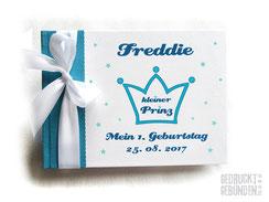 Foto Gästebuch 1. Geburtstag Junge Krone Kleiner Prinz Sterne petrol weiß blau A5 Querformat 20 Blatt Fotokarton weiß