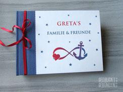 Foto Gästebuch dunkelblau weiß rot Symbole Unendlichkeit Liebe Hoffnung Infinity Herz Anker Sterne Gender Design