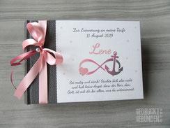 Fotoalbum zur Taufe mit Motiven der Taufkerze Infinity Anker Herz grau weiss altrosa rosa Taufalbum selbst gestalten Symbole Farben Text individualisierbar
