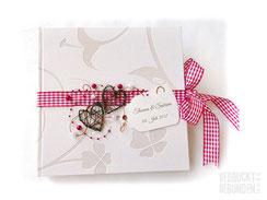 Foto Gästebuch Hochzeit Kleeblätter creme rot braun Gästebuch Hochzeit Rebenherz Hochzeitsbuch Hochzeitsgeschenk Wedding Guestbook Memories