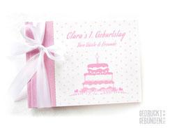 Foto Gästebuch 1. Geburtstag rosa weiß Kindergeburtstag Torte Geburtstagsgeschenk gepunktet Gästebuch Geburtstag personalisiert Geburtstagstorte