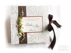 Fotoalbum Hochzeit Calla Ringe Perlen Hochzeitsalbum Callas weiß creme braun grün Hochzeitsgästebuch personalisiert Hochzeitsgeschenk