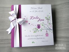 Fotoalbum Taufe Erinnerungsalbum personalisiert Name Eule Baum Herzen Babyalbum Geburt Mädchen Geburtsalbum Taufalbum Junge
