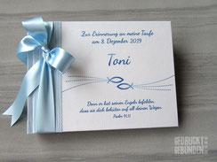 Foto Gästebuch Taufe hellblau weiß Taufsymbole Fische Wasser Taufgästebuch Junge Mädchen Taufbuch personalisiert Name Taufspruch
