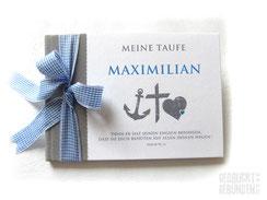 Foto Gästebuch Taufe grau blau weiß Taufsymbole Glaube Liebe Hoffnung Taufgästebuch Junge personalisiert Name Anker Kreuz Herz Taufspruch