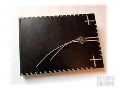Lederbuch dunkelbraun 35cm x 25cm 160 Seiten hellcreme Keltischer Knoten altsilberfarben Lederbänder hellbeige Gästebuch Ledereinband Hardcover