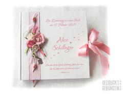 Gästebuch Taufe Rosen weiß rosa personalisiert Taufbuch Hochzeitsgästebuch Taufgeschenk Hochzeitsgeschenk Engel Herzen Name individualisierbar