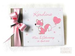 Fotoalbum Mein 1. Geburtstag Fuchs Herzluftballon Punkte beige weiß rosa Geburtstagsgeschenk personalisiert Kindergeburtstag Fotoalbum mit Namen
