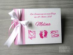 Foto Gästebuch Taufe rosa weiß pink Taufsymbole Fische Babyfüße Taube Taufgästebuch Mädchen Taufbuch personalisierbar Name Taufspruch Taufsymbole Farben