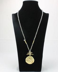 Collier Perles Agates éléments dorés Martelés J.DE.C ®