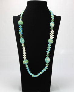 Collier Multi-Perles et Pierres VERT & BLEU
