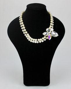 Collier Perles Nacrées Cristaux Véritable, J.DE.C ®