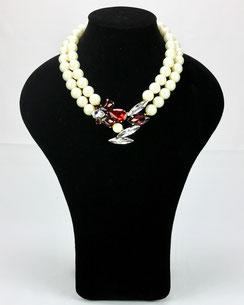 Collier Teria Yabar, Collier Perles nacrées, Cristaux Rouges et Blancs