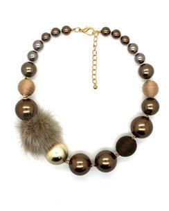 Collier Perles Nacrées & Boule Fourrure - J.DE.C La Boutique