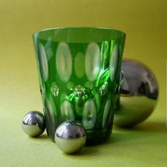 Rotter Glas. Grünes Glas / Dekor Oliven / Größe X . €194