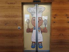 Tür Beschriftung Restaurant Skiarena Andermatt