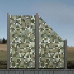 Glaszaun - Digitaldruck mit Quadraten