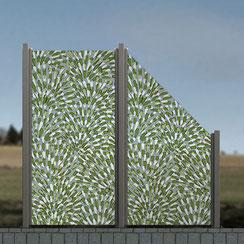Glaszaun - Digitaldruck mit Blättern