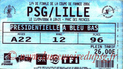 Ticket  PSG-Lille  2005-06
