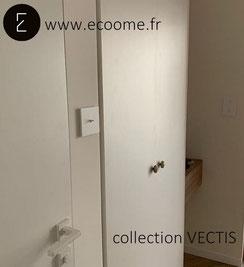 Interrupteur bouton poussoir à levier de la collection VECTIS vendu par ECOOME. Un style minimaliste et épuré mis en valeur par un intérieur moderne I ecoome I vectis