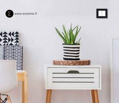 double bouton poussoir I ecoome I decente I en verre de couleur noire mat I graphique et design dans sa simplicité