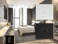 Interrupteurs VECTIS au design rectangulaire épuré à levier noir ou blanc. Une design minimaliste pour mettre en valeur vos intérieurs I ecoome I vectis
