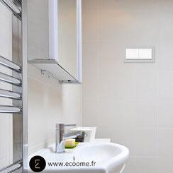 double interrupteur I gris pigeon en verre I salle de bain I ecoome