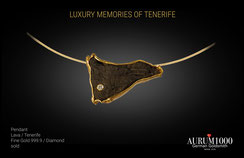 Pendant - Lava with pure 24 gold - Tenerife
