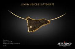 Pendant - Lava with pure 24 gold - Tenerife