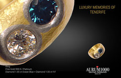 Krahn Design by Aurum1000 - pure 24 karat gold Ring with Diamonds