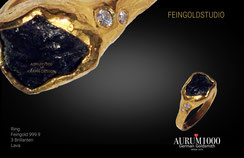 Feingoldspezialist Nr.1 - Ring aus Feingold 999 mit Lava - Krahn Design - Aurum1000