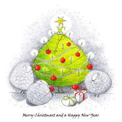 illustration-kind-weihnachtskarte-drache-tannenbaum
