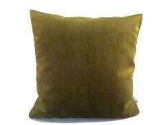 Samtkissen für Sofa, 40 cm x 40 cm, grün / olive