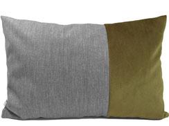 Samtkissen für Sofa, 40 cm x 60 cm, grün / olive und grau