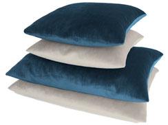 4er-Sparset Samtkissen blau weis, 2 Kissen 40x40, 2 Kissen 60x40