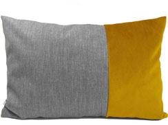 """""""Duetta"""" Sofakissen aus Samt, 40 cm x 60 cm, gold / gelb und grau"""