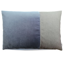 Samtkissen blau grau 40x60