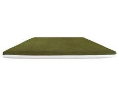 Wendesitzkissen grün / olive mit weißem Kunstleder