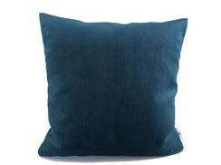 Sofakissen aus Samt in Blau, 40 cm x 40 cm