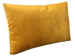 Samtkissen 60 x 40, gold / gelb mit Gänse- und Entenfedern