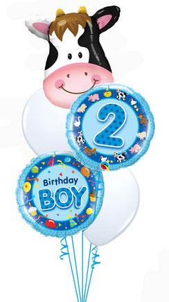 Ballon Luftballon Folienballon Heliumballon Bouquet Ballonstrauß Strauß Geschenk Geburtstag Junge Mädchen 1 2 3 4 5 6 Bauernhof Kuh Schwein Bauernhof Kindergeburtstag Versand verschicken Mitbringsel Deko Dekoration