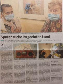 """Artikel im OGA vom 16.10.2020 zur Fotoausstellung """"Spurensuche- 30 Jahre Wiedervereinigung"""" im Rahthaus Mühlenbecker Land"""