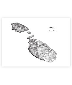 malta map poster print souvenirs gifts designer